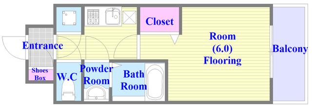 レジュールアッシュOSAKA新深江 バストイレがセパレート、独立洗面所のある使い易い間取りです。