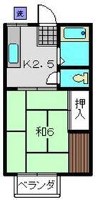 ハイツグリーン2階Fの間取り画像