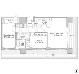 六本木グランドタワーレジデンス17階Fの間取り画像