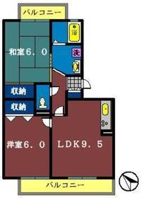 ハイカムールST・ユアサ2階Fの間取り画像