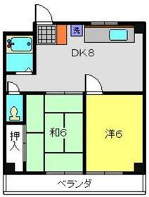 カサベルダ三ツ境2階Fの間取り画像