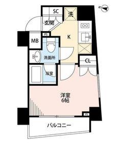 プレール・ドゥーク横濱紅葉坂6階Fの間取り画像