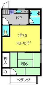 第一大川荘2階Fの間取り画像
