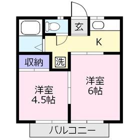 グレイス上福岡1階Fの間取り画像