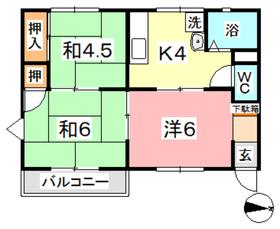 三宅コーポ1階Fの間取り画像