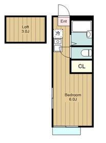 鶴間駅 車14分3.5キロ2階Fの間取り画像