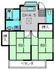 鹿島コーポ2階Fの間取り画像