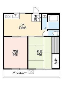 豊島コーポ2階Fの間取り画像