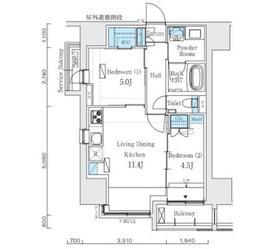 インプレストレジデンス上野 ジ アーキテクト12階Fの間取り画像