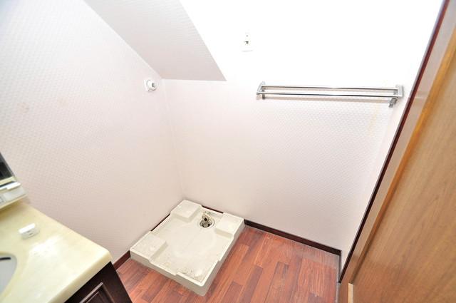 ルシード小阪 嬉しい室内洗濯機置場。これで洗濯機も長持ちしますね。