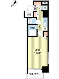 スカイコート日本橋浜町第34階Fの間取り画像