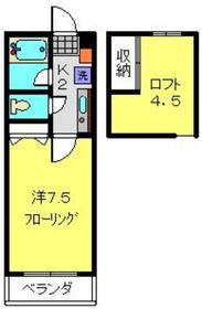 西山ハイツ2階Fの間取り画像