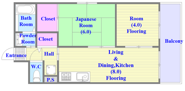 ウエンズ小路 セパレートで和室もありファミリータイプにはおススメの間取です。