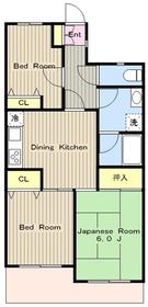 鶴間駅 徒歩3分4階Fの間取り画像