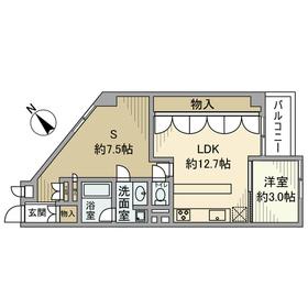 ハイツ赤坂1階Fの間取り画像