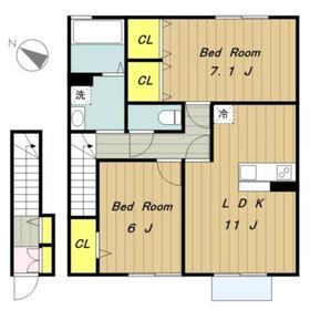 Maison Shangrila メゾンシャングリラ2階Fの間取り画像