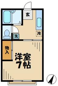 コーポクレイン(豊ヶ丘)1階Fの間取り画像
