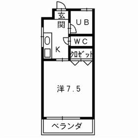 ユニテック島崎2階Fの間取り画像