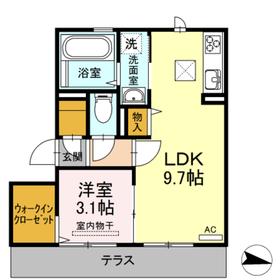 D・プレヴェイルII1階Fの間取り画像