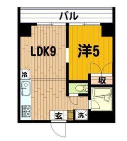 横浜三吉町第4レッツビル4階Fの間取り画像