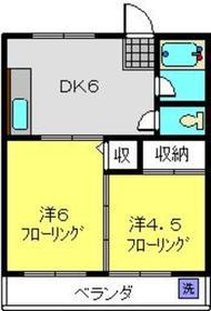 大倉山フラワーハイツ2階Fの間取り画像