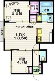 (仮称)吉川市平沼メゾン1階Fの間取り画像