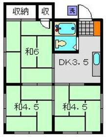宮川荘3階Fの間取り画像