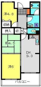 二俣川ハイツ1階Fの間取り画像