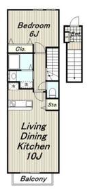 カーサプラシード2階Fの間取り画像