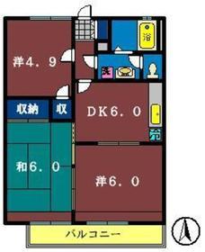 グレース田喜野井2番館2階Fの間取り画像