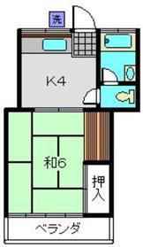 コーポT2階Fの間取り画像