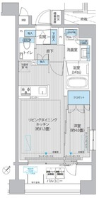 イニシア築地レジデンス5階Fの間取り画像