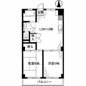 横浜ハイツ6階Fの間取り画像