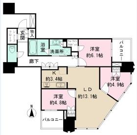 Tomihisa Cross コンフォートタワー14階Fの間取り画像