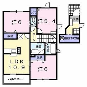 プラムコート2階Fの間取り画像