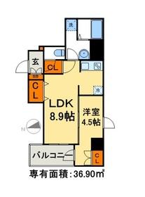 AXIA日本橋茅場町9階Fの間取り画像