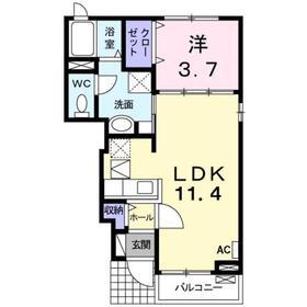 本厚木駅 バス6分「下岡田」徒歩1分1階Fの間取り画像