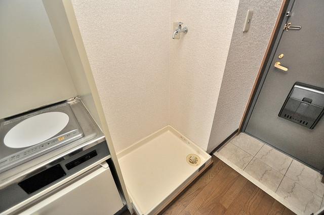 ビクトワール小阪 室内洗濯機置場だと終了音が聞こえて干し忘れを防げますね。