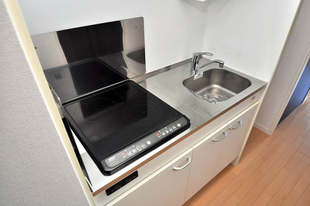 CASSIA高井田NorthCourt 単身用のカワイイミニキッチンです。