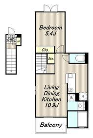 オーチャードイレブン2階Fの間取り画像