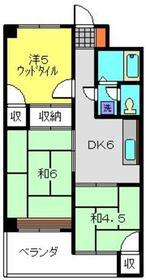 元住吉駅 バス10分「中之原住宅」徒歩4分2階Fの間取り画像