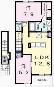 青梅駅 バス8分「駒木町」徒歩1分2階Fの間取り画像