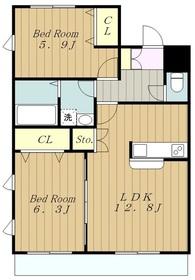 Sun Fushimi サンフシミ4階Fの間取り画像