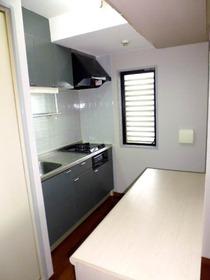 システムキッチンで窓と収納棚もあります