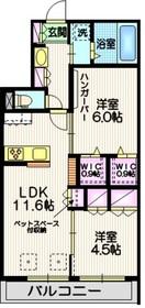 ファミーユⅡ2階Fの間取り画像