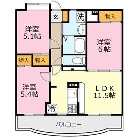 ミルフィーユふじみ野弐番館3階Fの間取り画像
