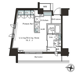 パークアクシス本郷の杜8階Fの間取り画像