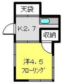 富士美荘2階Fの間取り画像