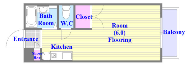 エステートピアナカタC棟 うれしいバス・トイレがセパレートの単身さん向けの間取りです。