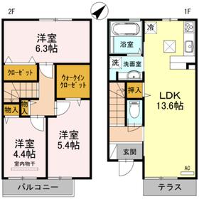 フラリール保田窪1階Fの間取り画像